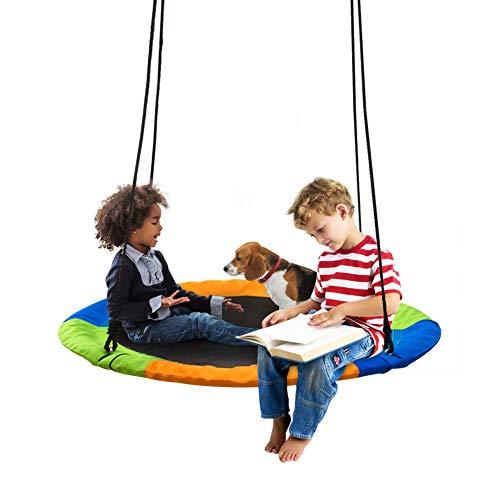 XIAPIA Nestschaukel für Kinder & Erwachsene 100 cm Durchmesse - 300 kg Belastbarkeit | Verstellbar Garten Netzschaukel für Jungen und Mädchen ab 3 Jahren