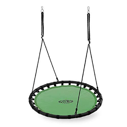 NILS Nestschaukel 120cm | Robust Garten-Schaukel bis 150kg belastbar | Tellerschaukel für Kinder und Erwachsene | Wetterfest Schaukel Outdoor (Grün)
