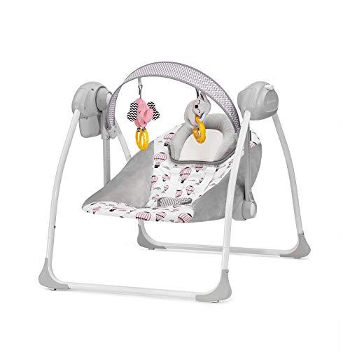 Kinderkraft Babywippe FLO 2 in 1, Babyschaukel, Wippe, Schaukelwippe mit Vibration, Spielbogen, Spielzeuge, Moskitionetz, Verstellbare Rückenlehne, Klappbar, 8 Melodien, von Geburt bis zu 9 kg, Rosa
