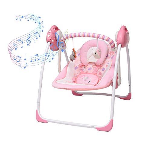 Rosa elektrische Babyschaukel, Neugeborenen-Kindersitz, Neue Babywiege, 6 Schwunggeschwindigkeiten, 16 Melodien und EIN Moskitonetz