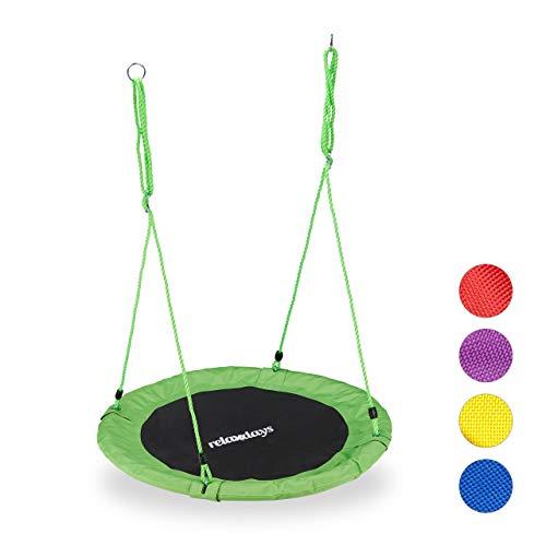 Relaxdays Unisex– Erwachsene, grün Nestschaukel, rund, für Kinder & Erwachsene, verstellbar, Ø 90 cm, Garten Tellerschaukel, bis 100 kg, H x D: ca. 5 x 90 cm
