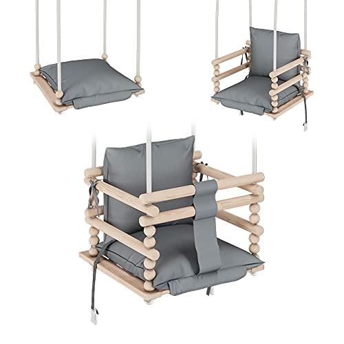 MAMOI Babyschaukel, Kinderschaukel, Schaukel für Kinder 3 in 1 + SICHERHEITSGURT, Kleinkindschaukel, Schaukelsitz, Baby schaukel Holz Indoor Outdoor | 100% ECO | Made in EU …