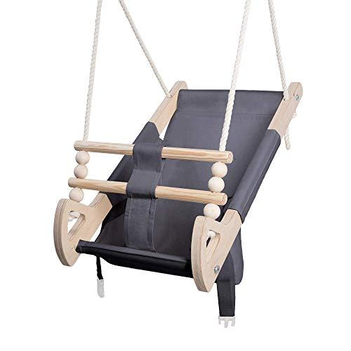 Stoffschaukel Kinder für Kinder mit Sitzgurt | Kleinkindschaukel für Draußen aus Holz und Baumwolle | Baby Hängeschaukel modernes Design | 100% ECO | Made in EU