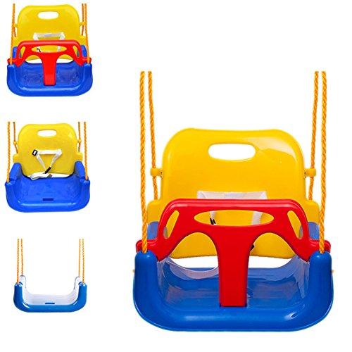 EXTSUD Babyschaukel 3 in 1 Babysitz verstellbar und mitwachsend Schaukelsitz Gartenschaukel für Baby und Kinder mit Rückenlehne und Anschnallgurt belastbar bis 200kg Blau